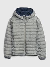 갭 GAP Kids Upcycled Lightweight Puffer Jacket,pure red