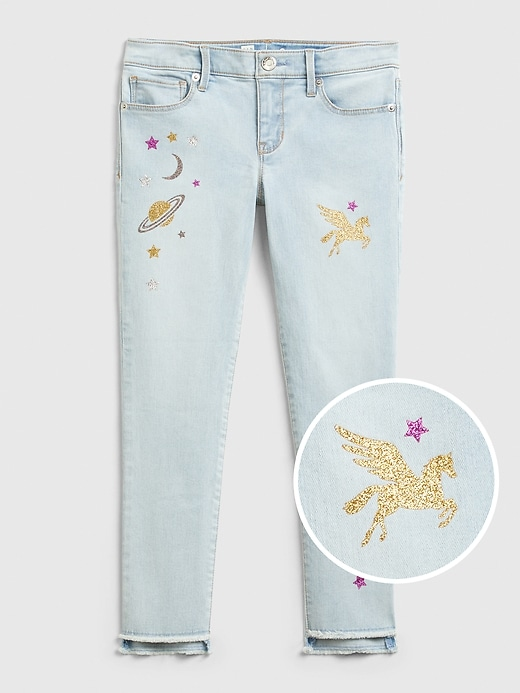 Kids Skinny Ankle Graphic Jeans with Stretch