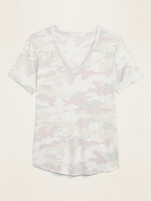 Luxe Slub-Knit V-Neck Camo Tee for Women