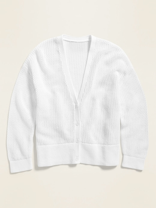 Textured Open-Knit Button-Front Cardigan for Women