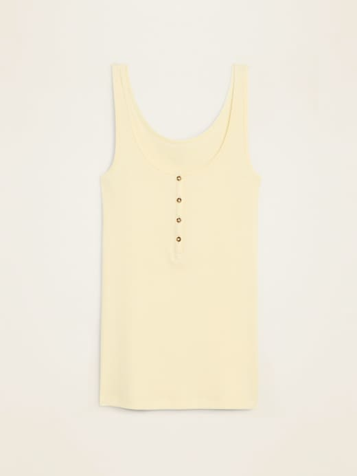 Fitted Rib-Knit Henley Tank for Women