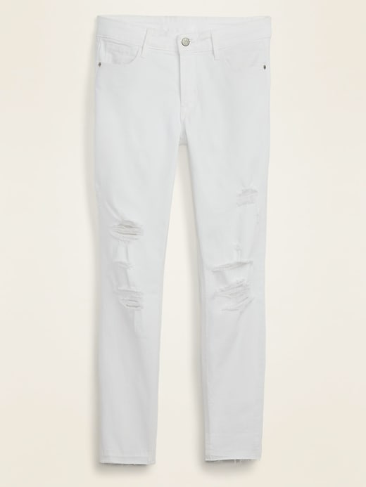 Mid-Rise Distressed Rockstar Super Skinny White Ankle Jeans for Women