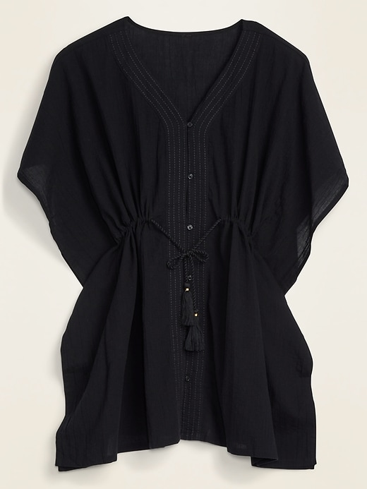 Gauze Button-Front Caftan Swim Cover-Up for Women