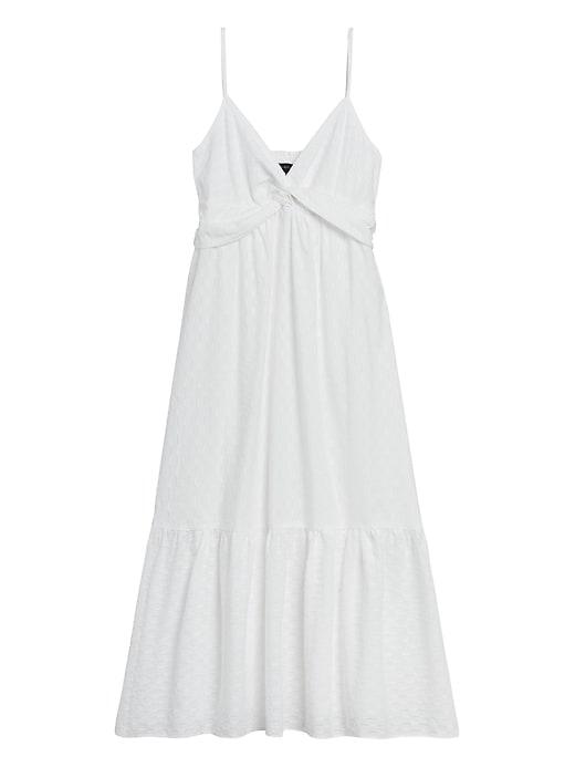Textured Cotton Twist-Front Midi Dress