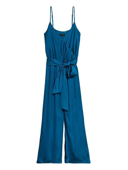 Petite Satin Wide-Leg Cropped Jumpsuit