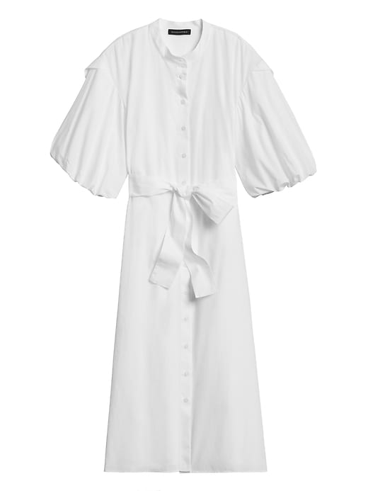 Petite Poplin Puff-Sleeve Shirt Dress