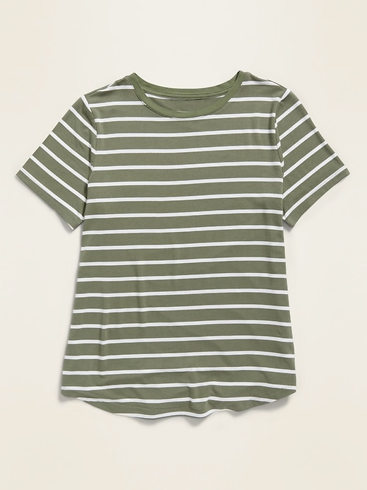 Luxe Striped Crew-Neck Tee for Women