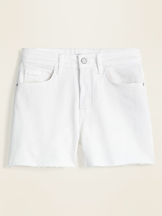 High-Waisted White Cut-Off Jean Shorts for Women -- 3.5-inch inseam