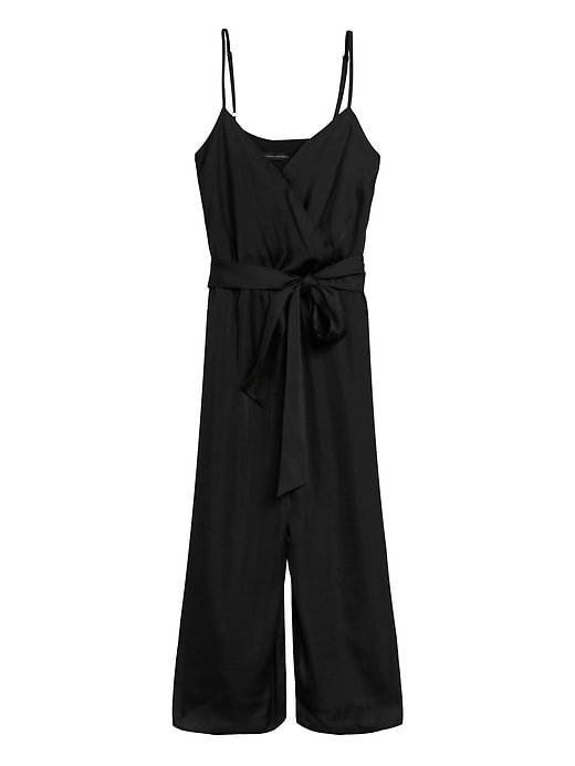 Satin Wide-Leg Cropped Jumpsuit