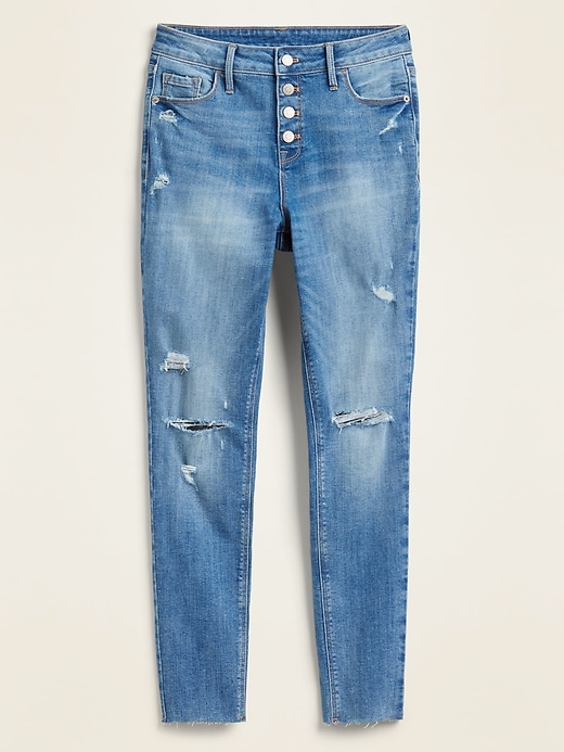 High-Waisted Distressed Button-Fly Rockstar Super Skinny Ankle Jeans for Women