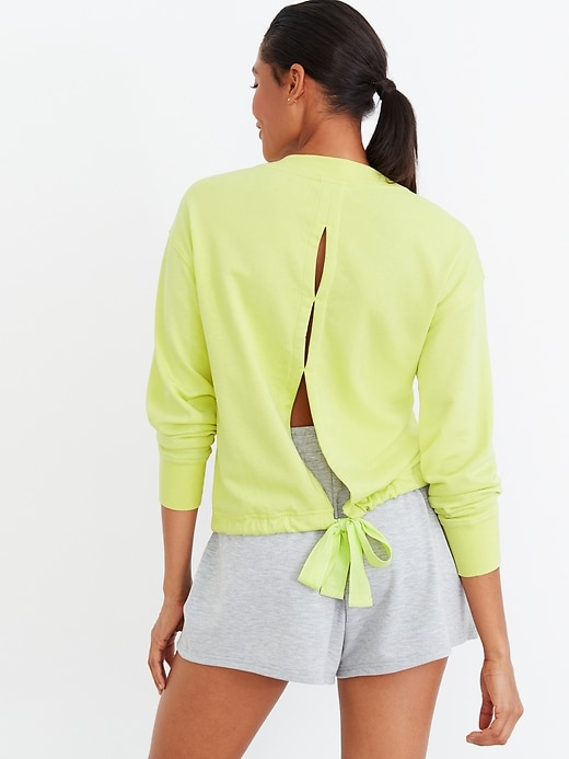 Loose French-Terry Tie-Back Sweatshirt for Women