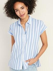 Relaxed Vertical-Stripe Cap-Sleeve Shirt for Women