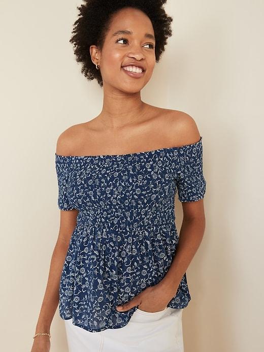 Floral-Print Smocked Off-the-Shoulder Top for Women