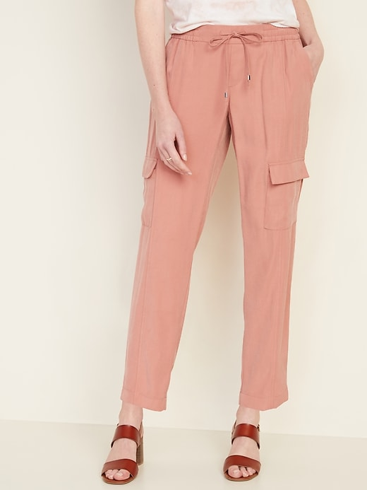 Mid-Rise Soft Pull-On Cargo Pants for Women