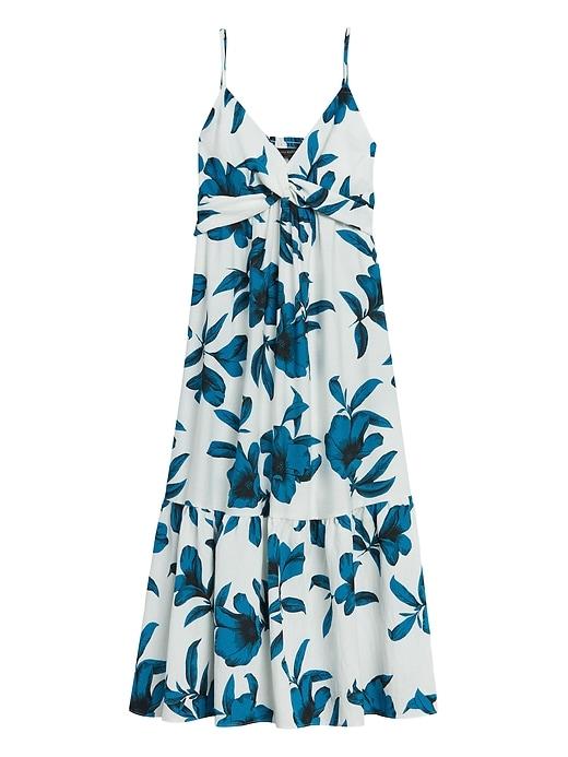 Floral Twist-Front Midi Dress