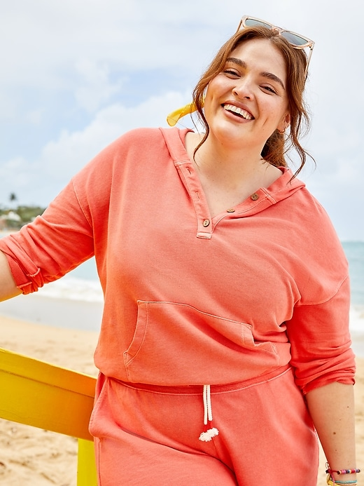 French Terry V-Neck Plus-Size Pullover Hoodie