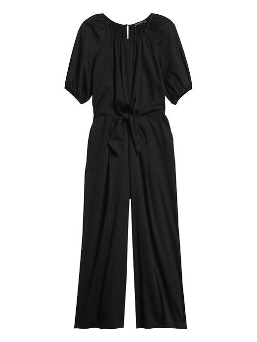 Petite Poplin Twist-Front Cropped Jumpsuit