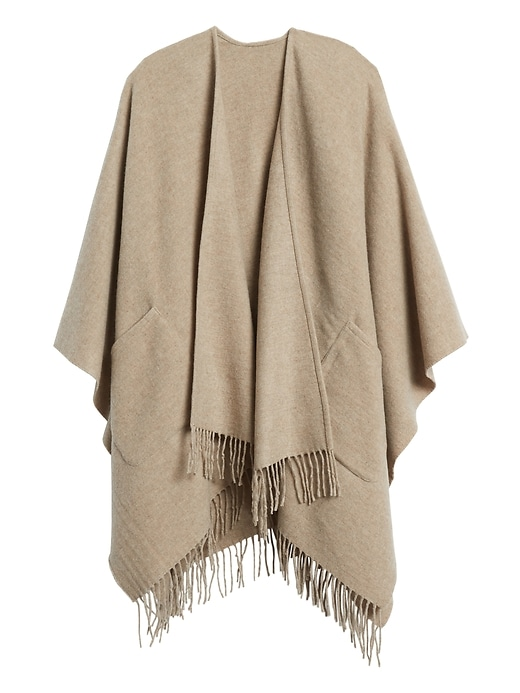 Wool-Blend Poncho with Pockets
