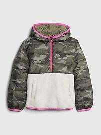 갭 GAP Kids BetterMade Lightweight Sherpa Puffer Jacket,outdoor green