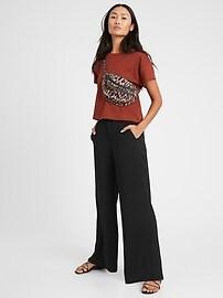 Pantalon à jambe large et taille haute, Petite