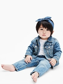Veste en denim emblématique en coton biologique pour bébé