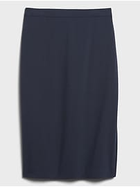 Washable Italian Wool-Blend Pencil Skirt with Side Slit