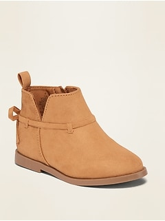 Oldnavy Faux-Suede Bow-Strap Booties for Toddler Girls