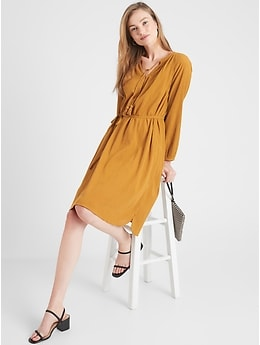 Banana Republic Tie-Neck Shift Dress