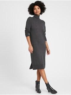 Washable Merino Turtleneck Sweater Dress