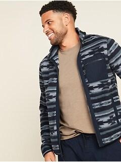 Oldnavy Patterned Sherpa Zip-Front Jacket for Men