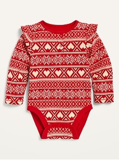 Oldnavy Unisex Printed Ruffle-Trim Thermal Bodysuit for Baby