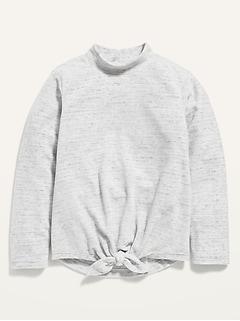Oldnavy Mock-Neck Tie-Front Micro Fleece Pullover for Girls