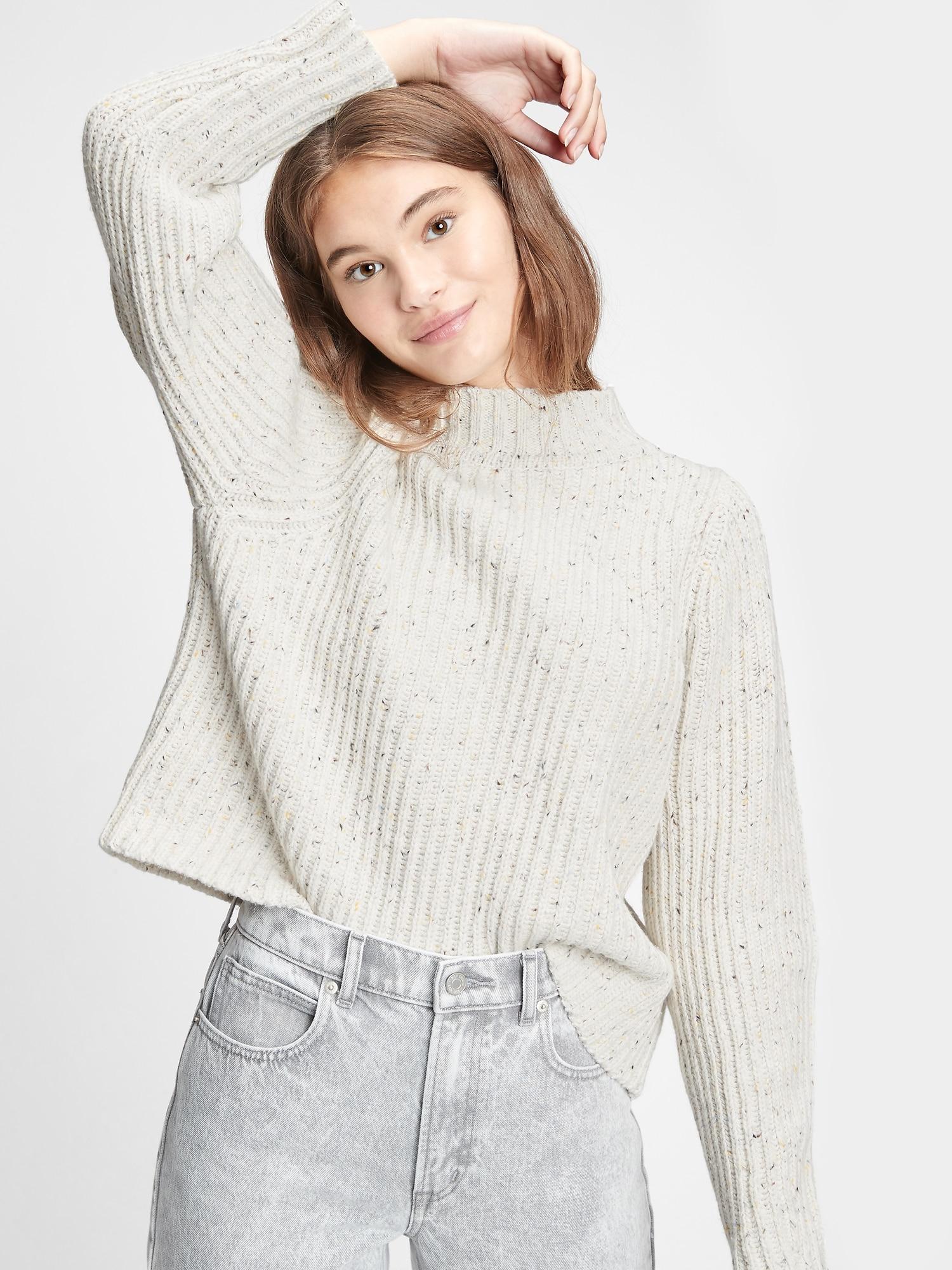 リブモックネック セーター
