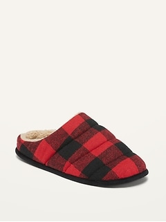 Oldnavy Cozy Quilted Buffalo Plaid Flannel Slippers for Men