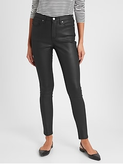 bananarepublic High-Rise Coated Black Skinny Jean