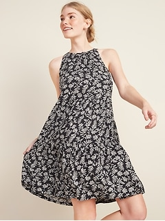 Oldnavy Printed Tiered Sleeveless Swing Dress for Women
