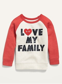 Oldnavy Unisex Love My Family Graphic Raglan Sweatshirt for Toddler