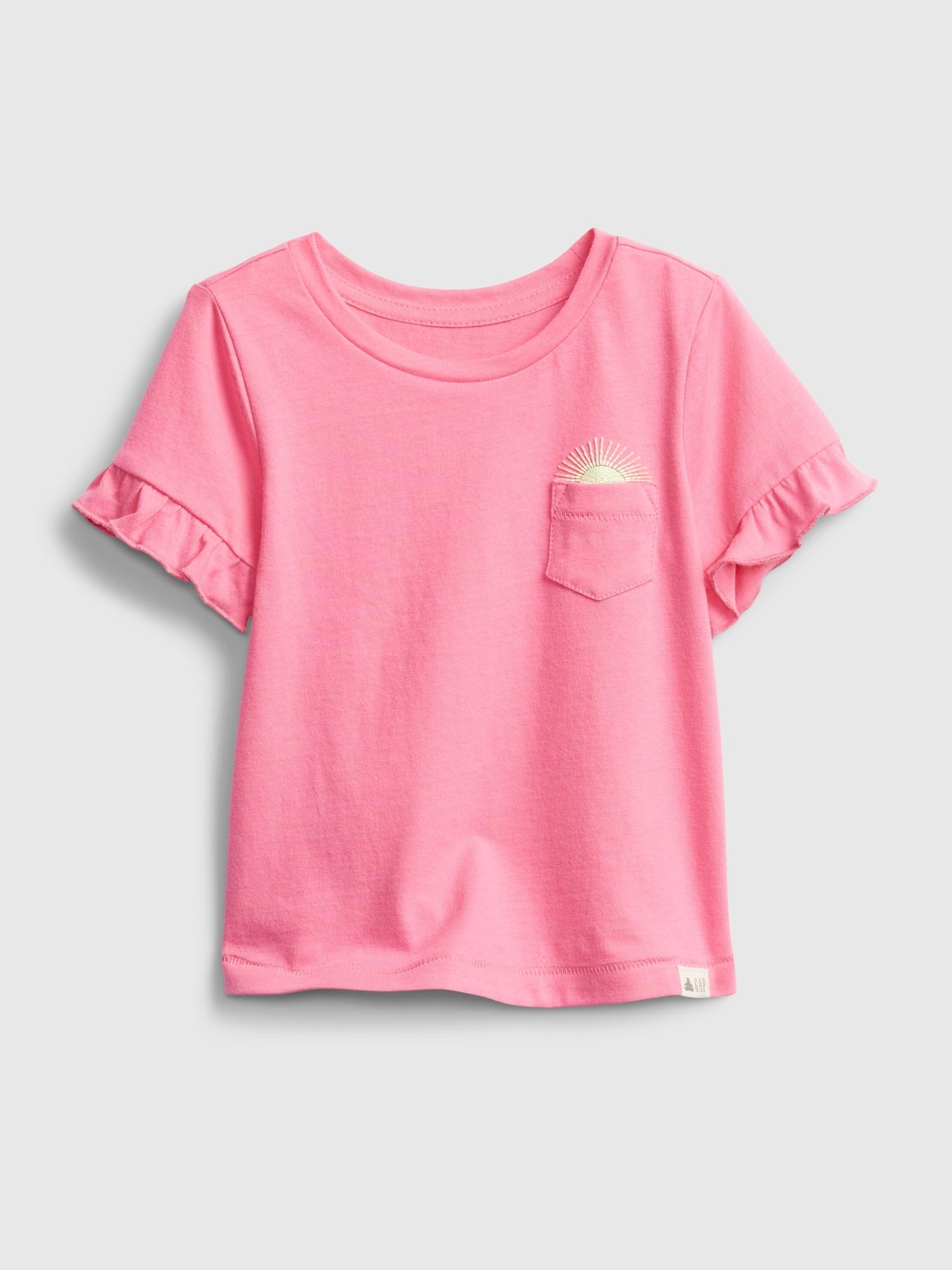 オーガニックコットン 100% ラッフルtシャツ (幼児)