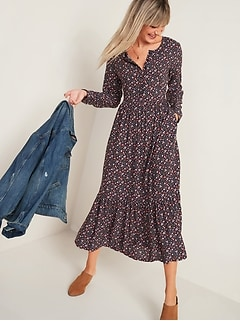 Floral-Print Maxi Tiered-Hem Swing Dress for Women