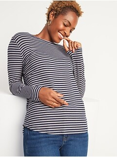 Oldnavy Luxe Rib-Knit Metallic-Stripe Long-Sleeve Tee for Women Hot Deal