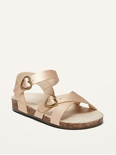Oldnavy Faux-Leather Heart-Buckle Sandals for Toddler