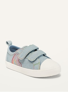 Oldnavy Unisex Chambray Rainbow-Stitch Double-Strap Sneakers for Toddler