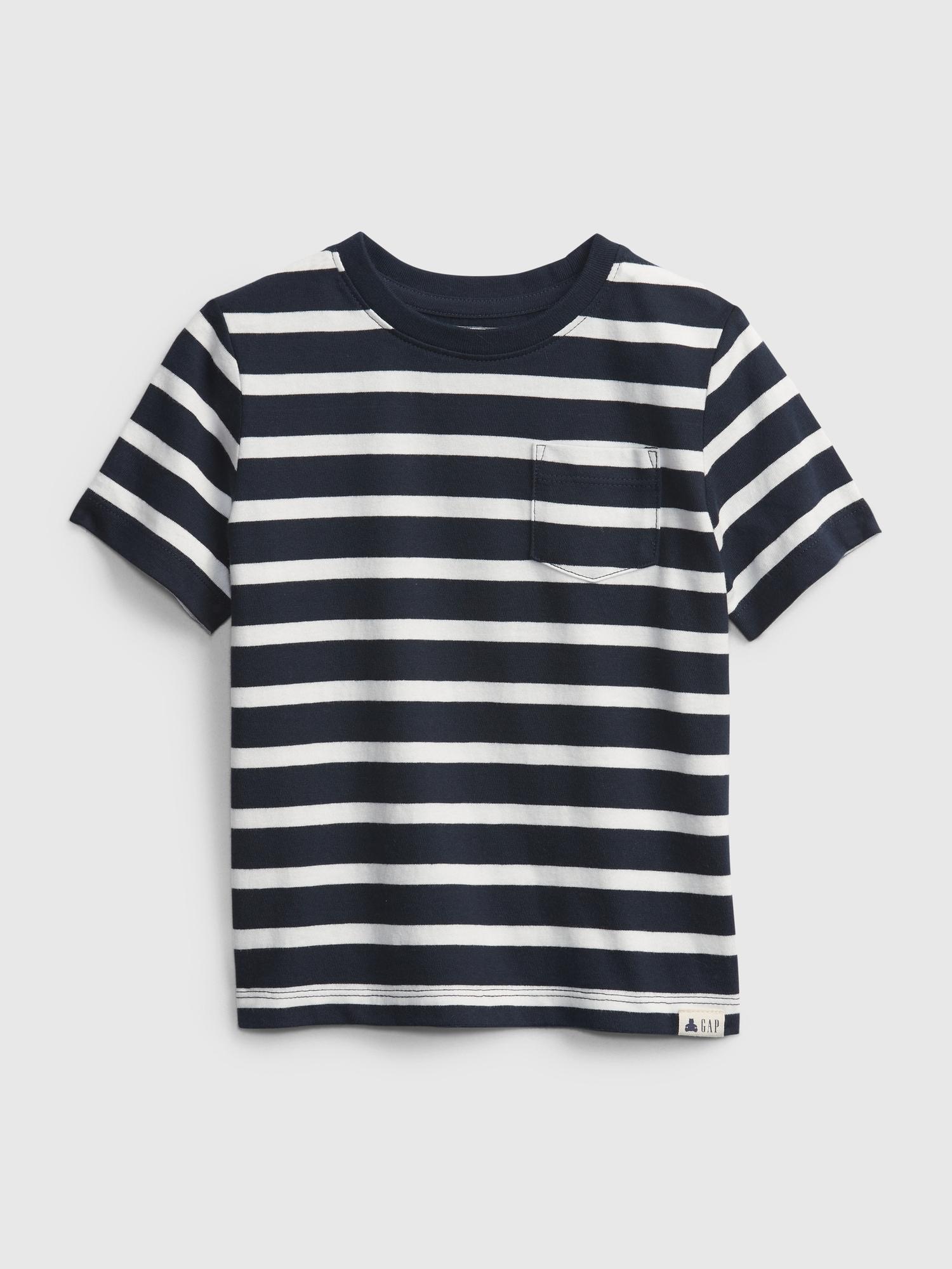 オーガニック ミックスマッチ ストライプtシャツ (幼児)