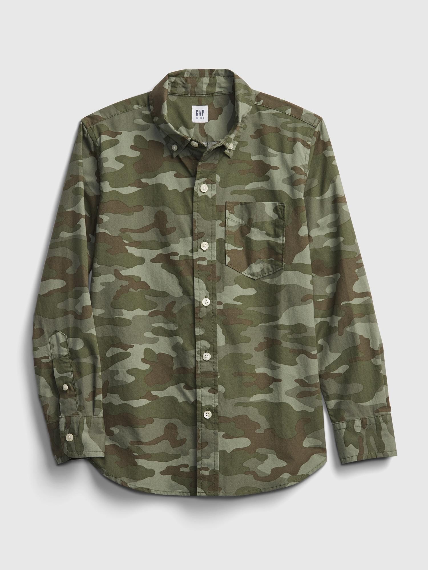 迷彩ポプリンシャツ (キッズ)