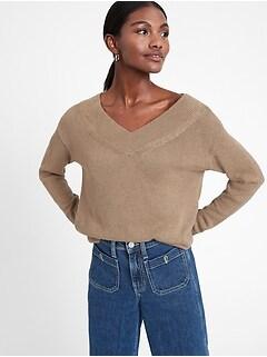 Bananarepublic Cotton-Hemp V-Neck Sweater