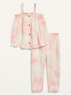Oldnavy Printed Sleeveless Button-Front Swing Top and Pants Set for Toddler Girls