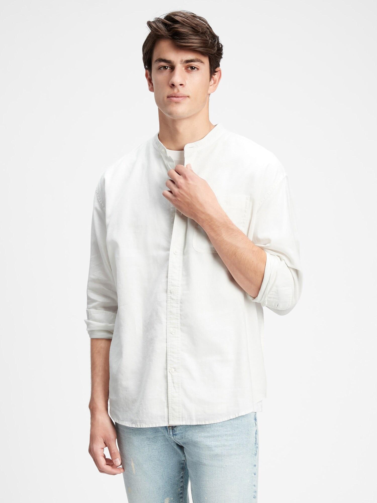 リラックスフィット バンドカラーシャツ