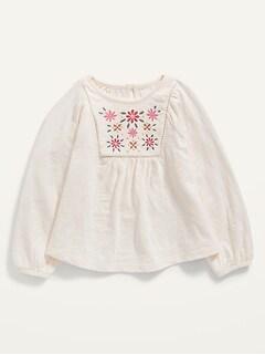 Oldnavy Vintage Embroidered Raglan Slub-Knit Top for Toddler Girls