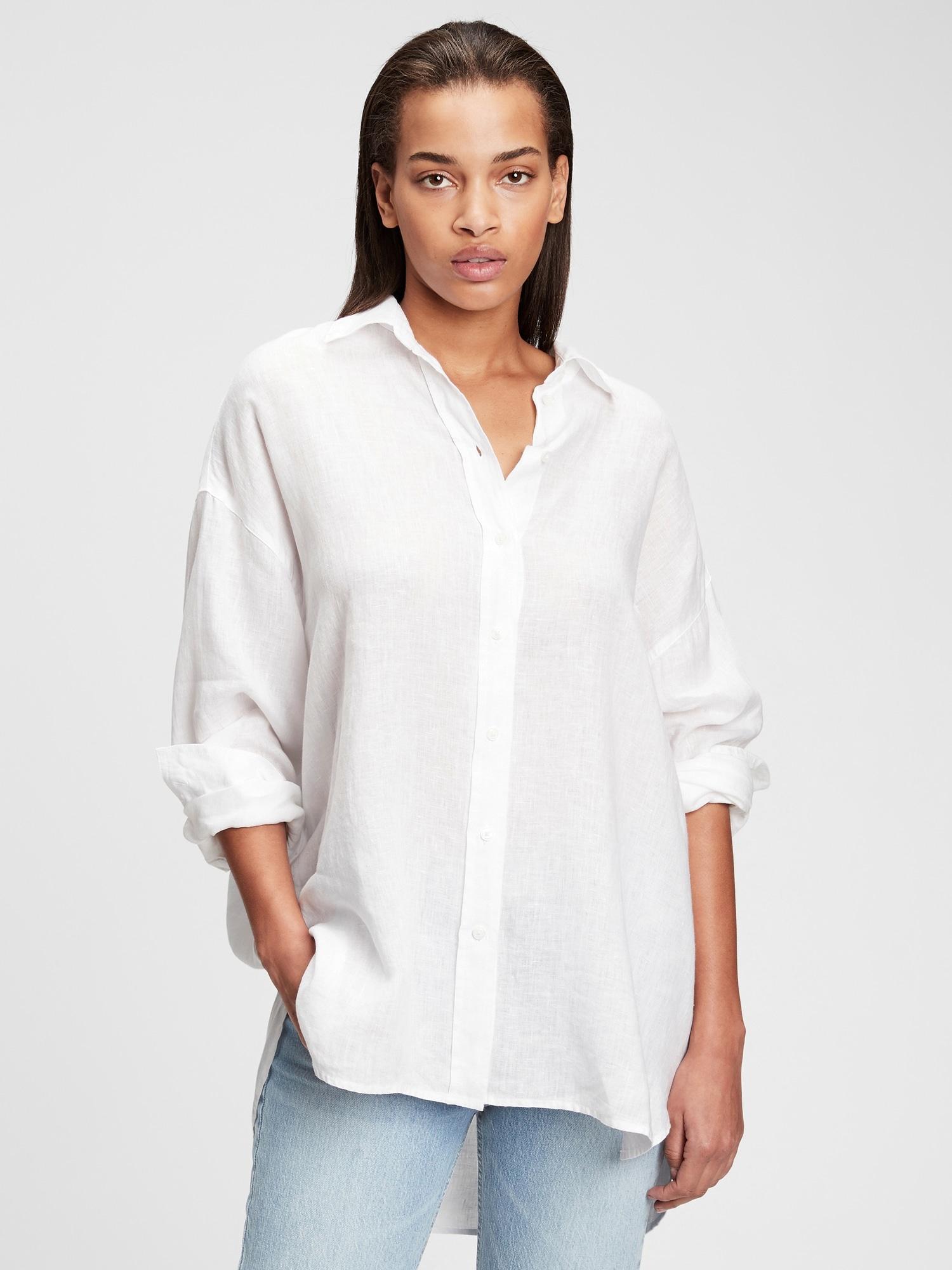 オーバーサイズ リネンシャツ