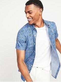Oldnavy Built-In Flex Patterned Everyday Short-Sleeve Shirt for Men